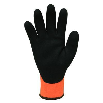 MODINA™ Cut 3 Orange Acrylic Thermal Gloves - Black Sandy Latex Coating sold 12pac