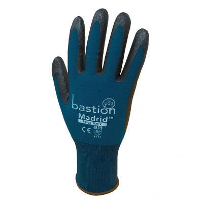 MADRID™ Green Nylon/Spandex Gloves - Black Micro Foam Flex Nitrile Coating 12 Pac