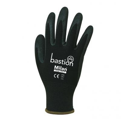 MILAN™ Black Nylon Gloves - Black Sandy Foam Nitrile Coating sold 12pac