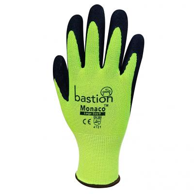 MONACO™ High Viz Yellow Polyester Gloves - Black Sandy Foam Nitrile Coating sold 12pac