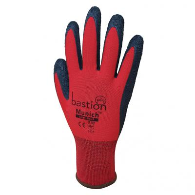 Munich - Red Nylon Gloves Black Crinkled Latex Coating sold 12pac
