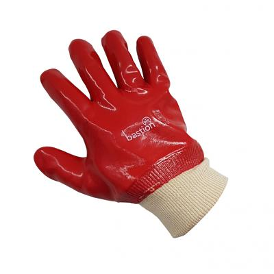 PVC Red Gloves - 27cm Length Knitted Wrist