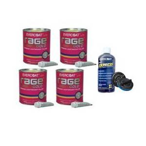 4 Rage Gold Body Filler Tins & 1 Evercoat 440 Express Micro-Pinhole Kit Free