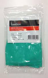 Bastion Nitrile 330 Gloves Solvent Resistant Flocklined - Green - Large SOLD 12 PAC