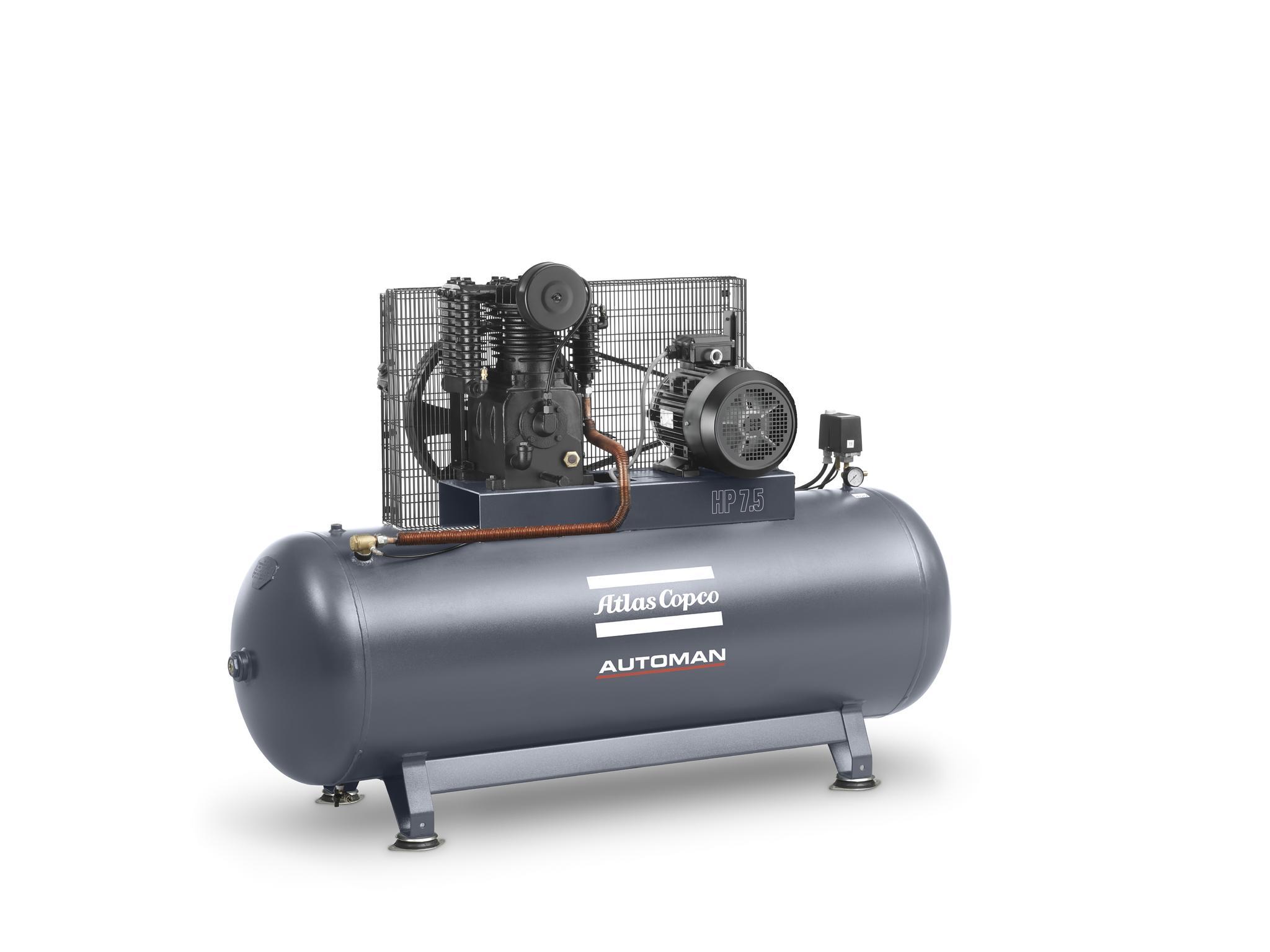 Atlas Copco 5.5 hp Cast Iron Piston Air Compressor with 270L Vessel - 11 bar