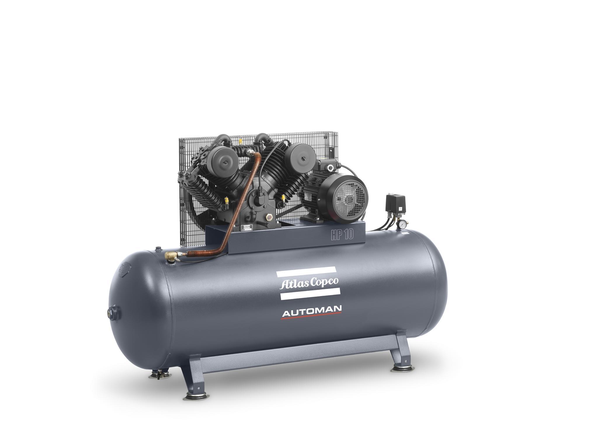 Atlas Copco 10 hp Cast Iron Piston Air Compressor with 270L Vessel - 11 bar