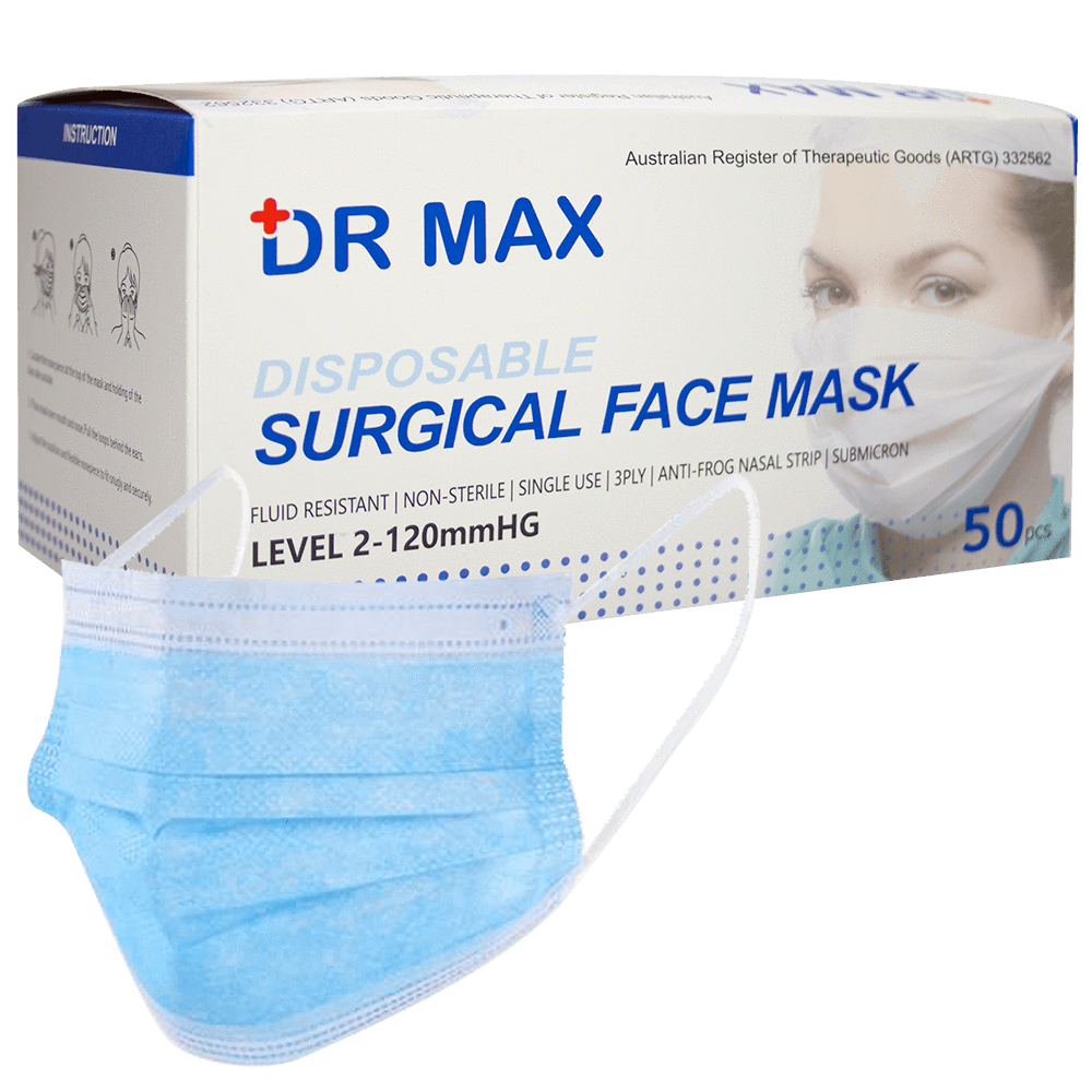 DR Max Disposable Surgical Face Mask pkt 50